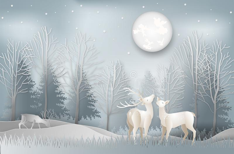 Minimal concept of winter season and Christmas day Deer under th. E view pine forest landscape with snow background. paper art and digital craft style. Vector royalty free illustration