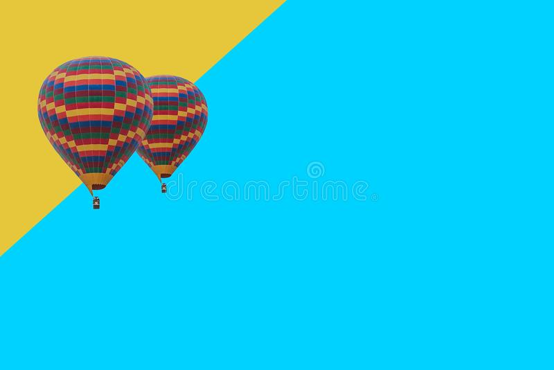 Minimal conceptual illustration of flying balloons on a colored background.  royalty free stock images