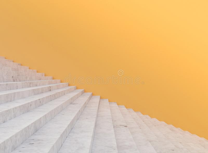 Minimal concrete staircase and yellow wall , 3d rendering royalty free illustration