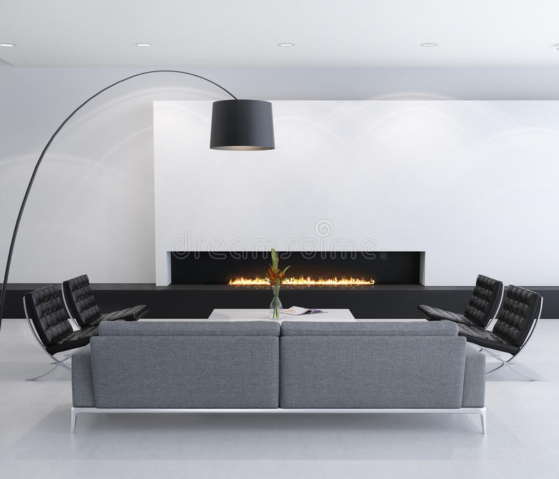 Download Minimal Contemporary Gas Fireplace Interior, Living Room Stock Illustration - Image: 34007698