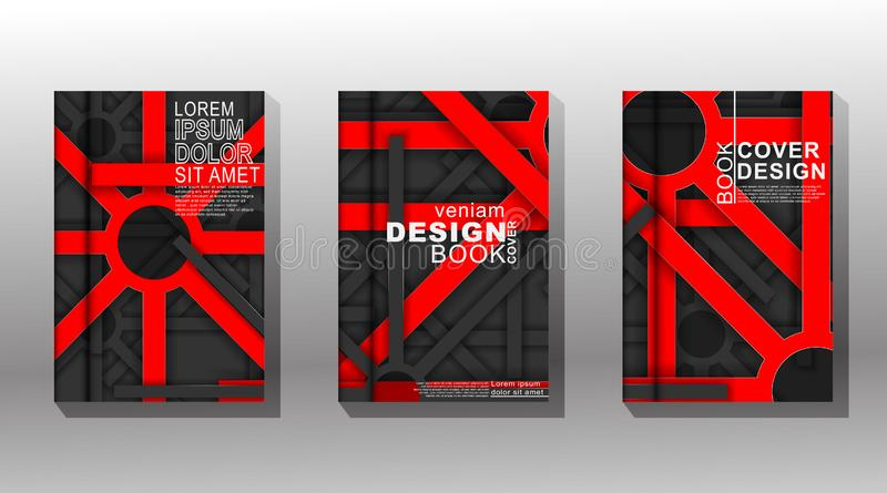 Minimal cover design. geometric shape overlap red and gray . design vector royalty free illustration