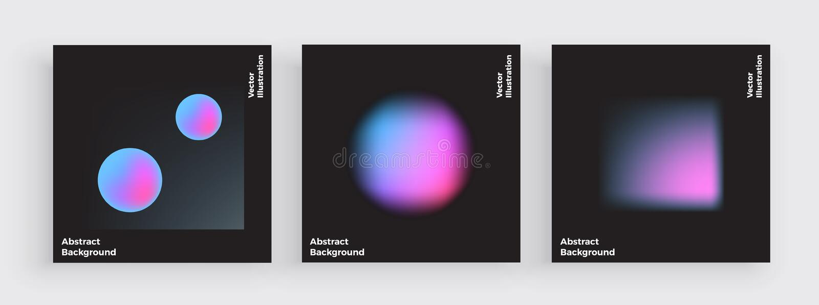 Minimal cover design, gradient blurs, liquid color covers set. Fluid shapes with bright colors. Trendy futuristic design posters. royalty free illustration