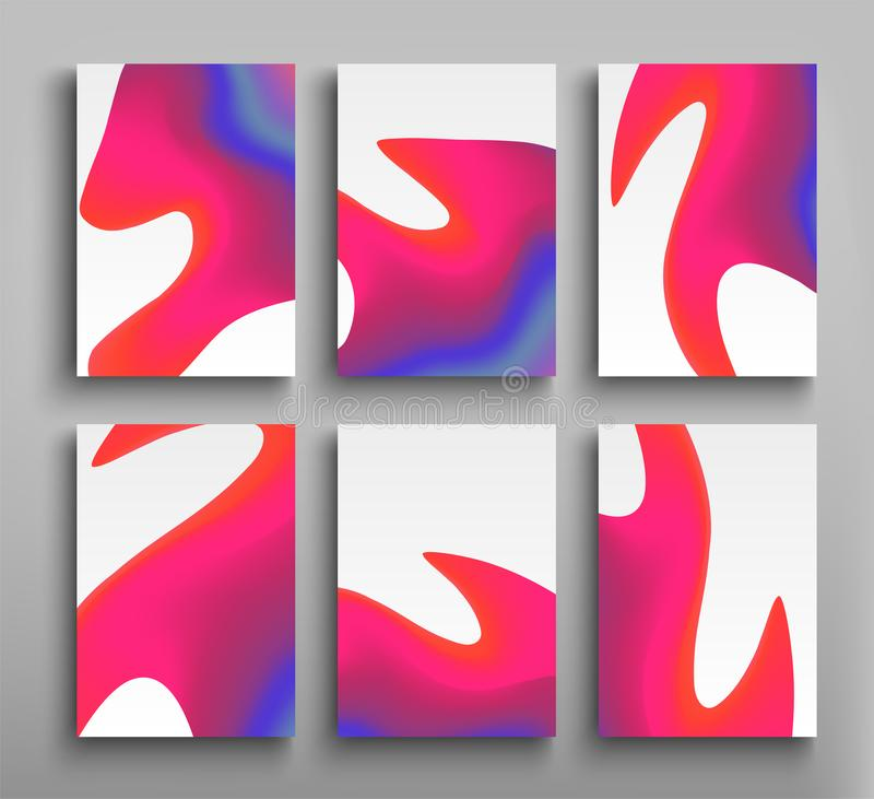 Minimal coverage gradients liquid cover, futuristic banner, holographic template abstract flyer, liquid color forms vector illustration