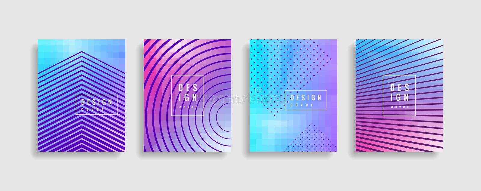 Minimal covers design. Colorful halftone gradients. Future geometric patterns. Eps10 vector. stock illustration