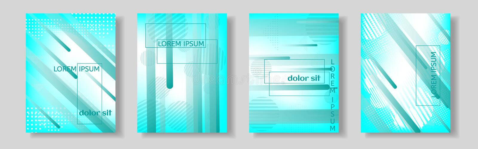 Minimal covers design. Colorful halftone gradients. Future geometric patterns. royalty free illustration