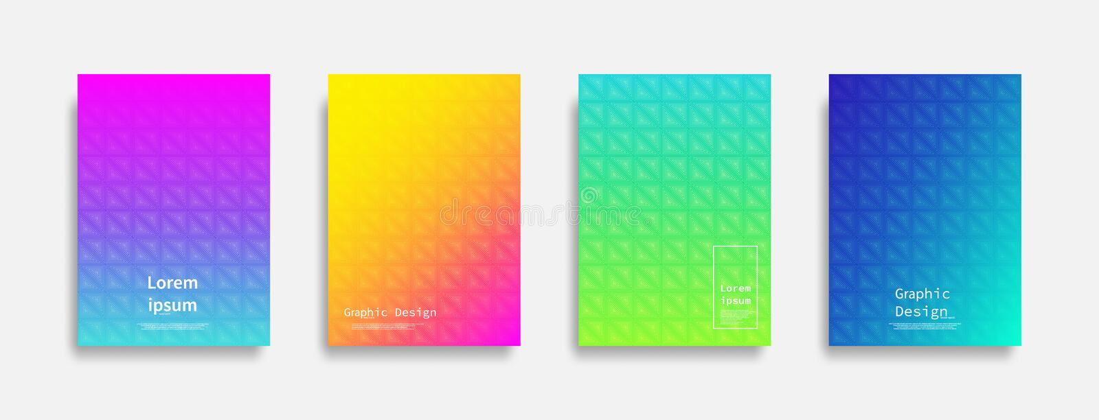 Minimal covers design. colorful triangle design. Future geometric patterns. royalty free illustration