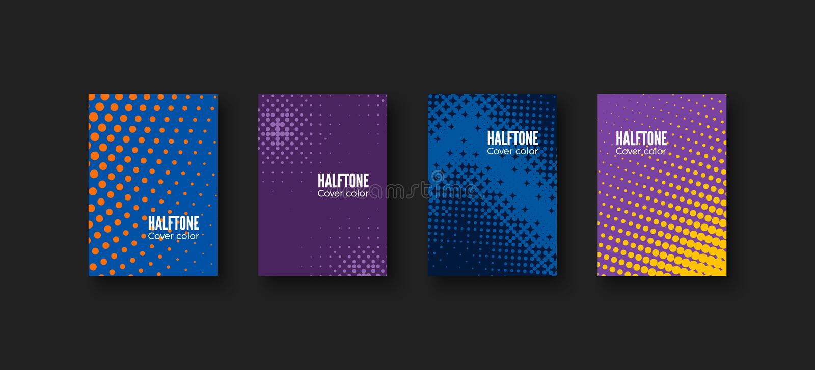 Minimal covers design. Geometric patterns set. Minimalistic identity template. Colorful halftone gradients. Vector illustration vector illustration