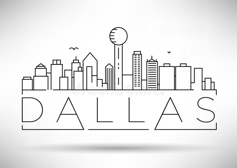 Minimal Dallas City Linear Skyline with Typographic Design stock illustration