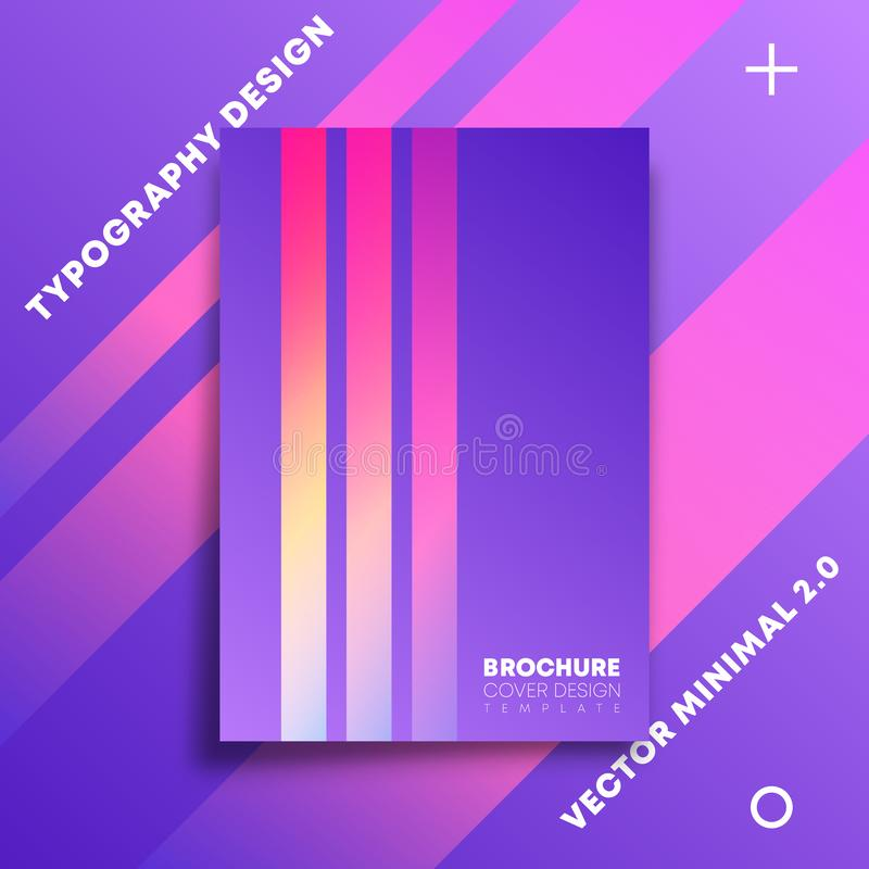 Minimal design background with colorful gradient lines for flyer, poster, brochure cover, typography or other printing products royalty free illustration