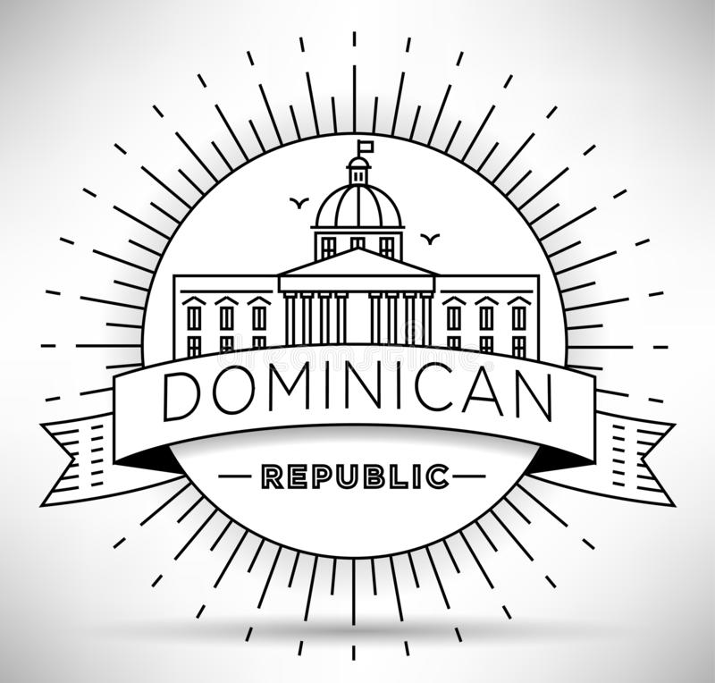 Minimal Dominican Republic City Linear Skyline with Typographic Design stock illustration