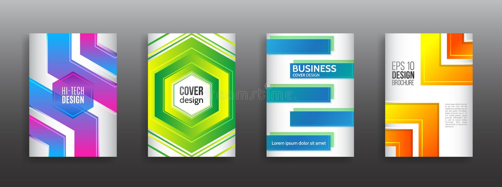 Minimal dynamic cover design. Abstract geometric line gradient background vector illustration