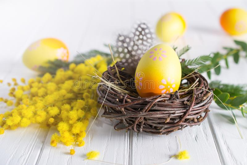 Minimal easter composition. Yellow decorative chicken egg in the nest. Mimosa flowers and feathers. On white table royalty free stock photography
