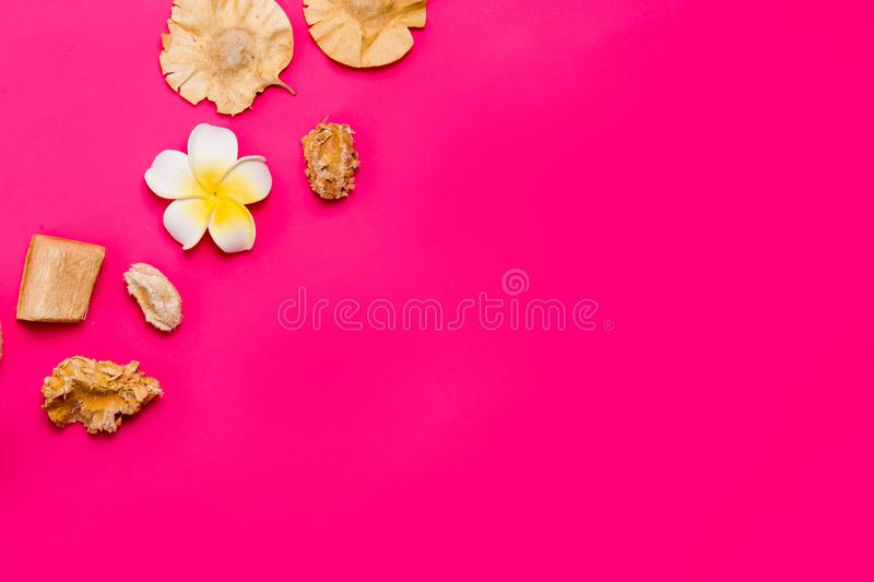 Minimal flat lay, copy space. Spa beauty cosmetic products. On a bright pink background stock images