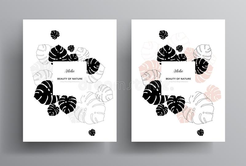 Minimal floral greeting invitation card template design w/ monstera tropical palm leaves royalty free illustration