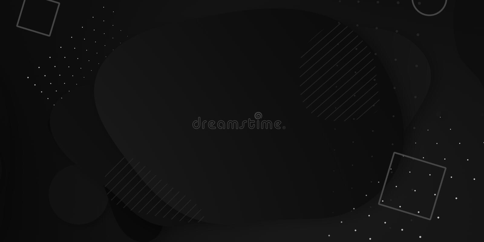 Minimal geometric black gradient background. Dynamical shapes, forms, line composition. stock photography