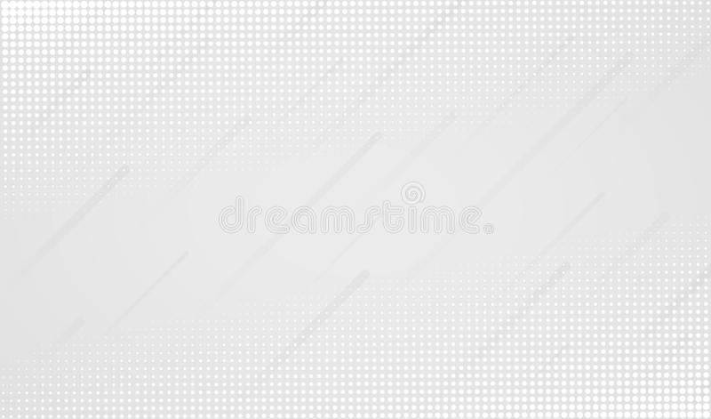Minimal geometric white abstract background. Dynamic shapes with halftone dotted patterns royalty free illustration