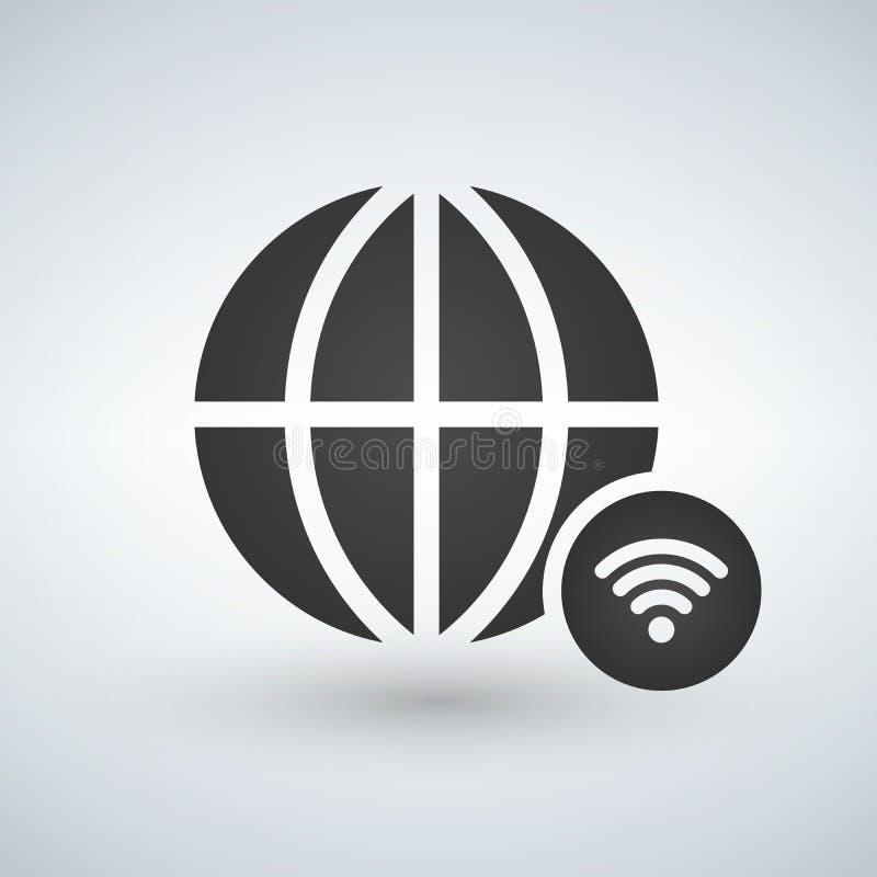 Minimal globe icon with wifi icon in circle, illustration royalty free illustration