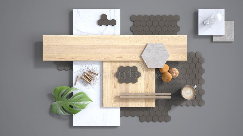 Minimal gray background, copy space, marble slab, wooden planks, cutting board, mosaic tiles, plant leaf, cappuccino, cookies,. Cinnamon. Kitchen interior royalty free illustration