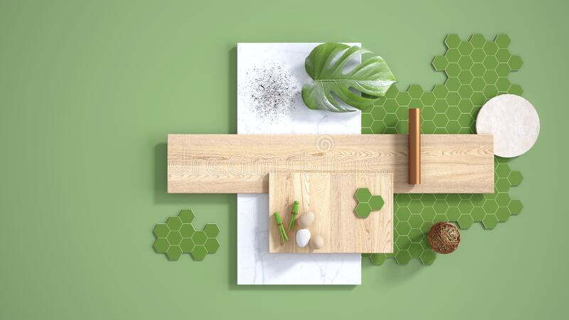 Minimal green background with copy space, marble slab, wooden planks, cutting board, mosaic tiles, monstera leaf, eggs, pins and. Decors. Kitchen interior stock illustration