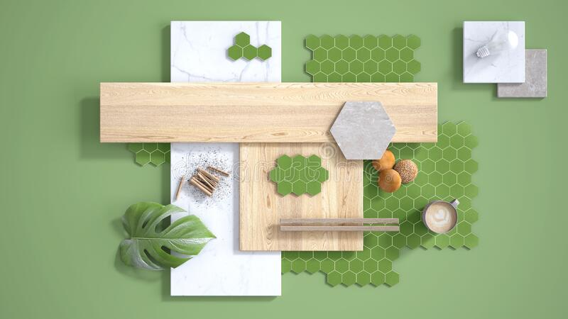 Minimal green background, copy space, marble slab, wooden planks, cutting board, mosaic tiles, plant leaf, cappuccino, cookies,. Cinnamon. Kitchen interior stock illustration