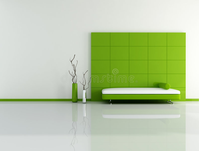 Minimal green living room. With sofa panel and vase - digital artwork royalty free illustration