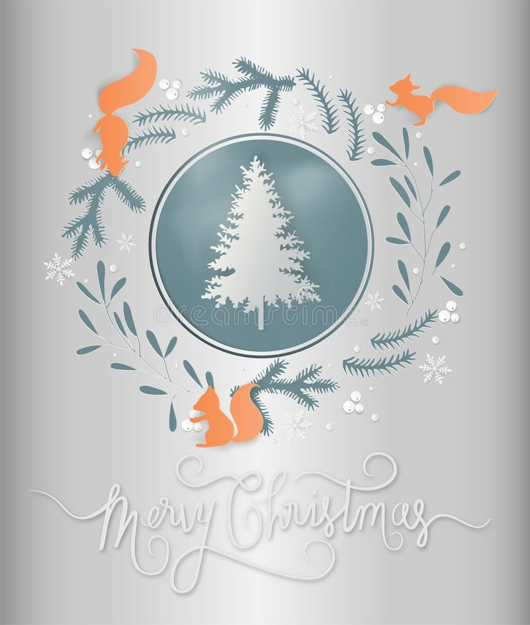 Minimal greeting card concept of winter season and Christmas day. Snowflakes and christmas tree. paper art and digital craft style. Vector illustration stock illustration