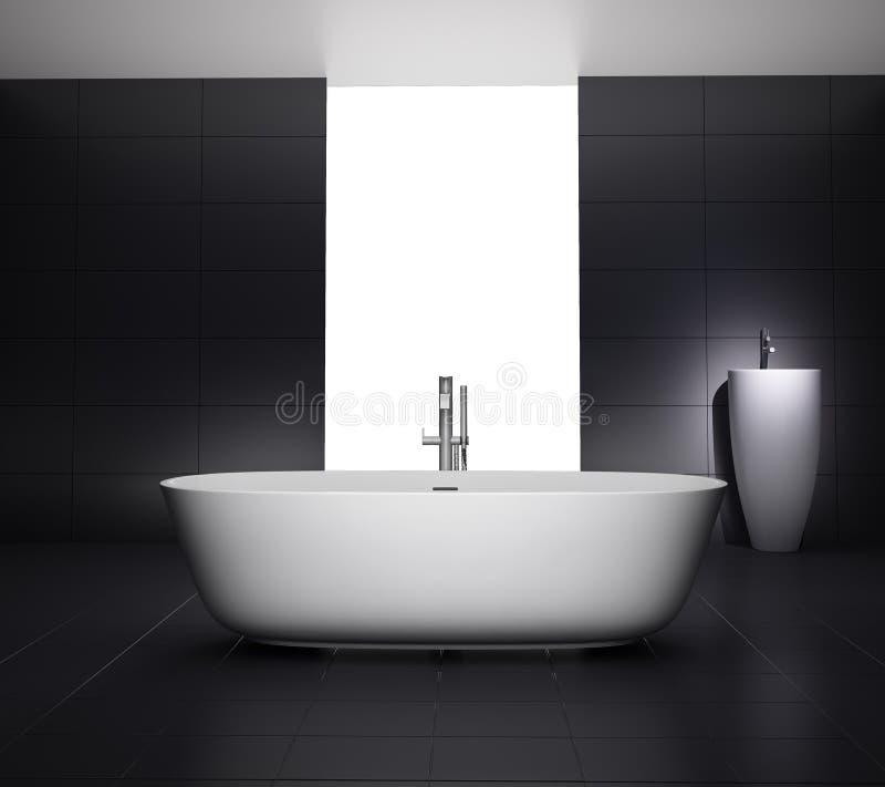 Minimal grey bathroom with jacuzzi bathtub royalty free stock images