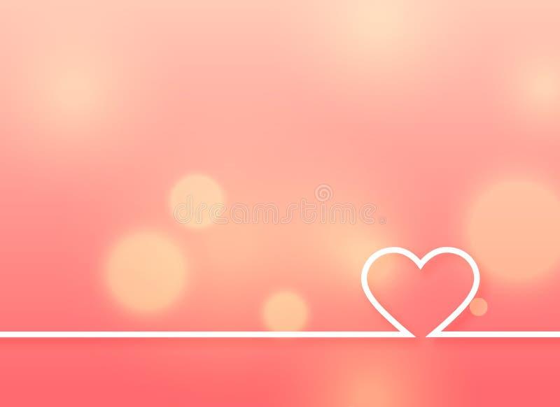 Minimal heart design on soft pink background stock illustration