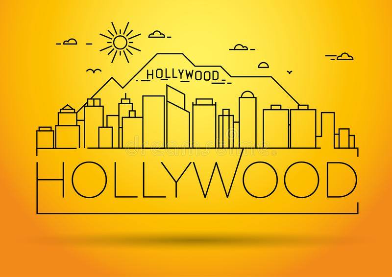 Minimal Hollywood Linear Skyline with Typographic Design royalty free illustration