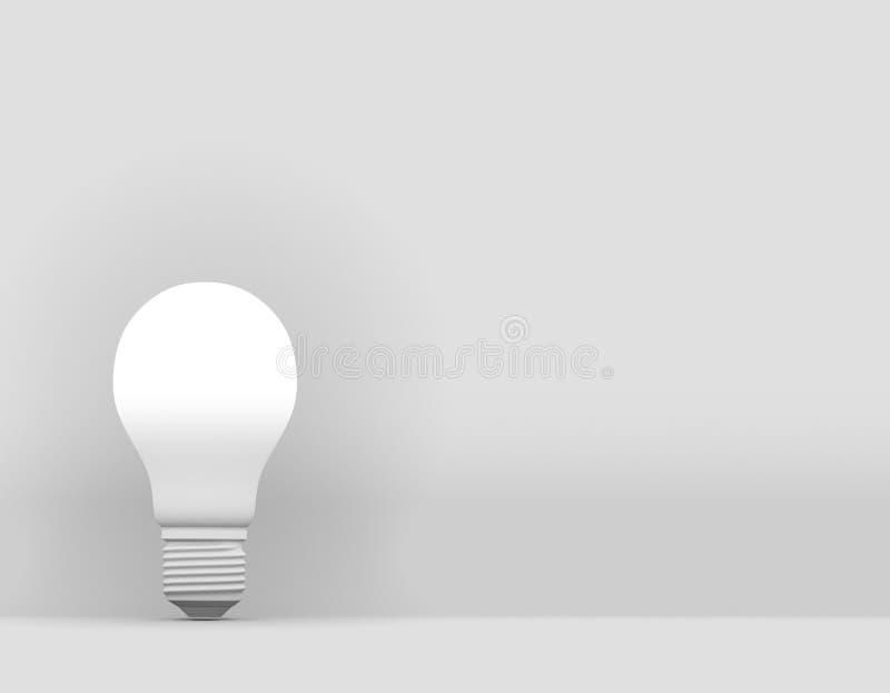 Minimal Idea design concept light bulb on white background.  royalty free illustration