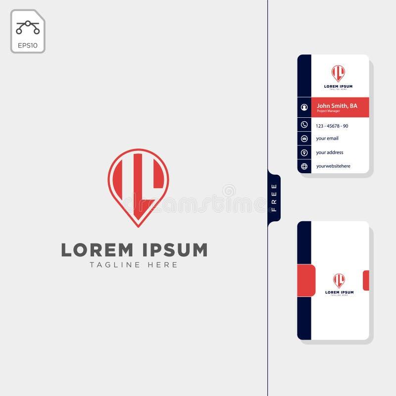 Minimal IL navigator point logo template vector illustration free business card design. Template royalty free illustration