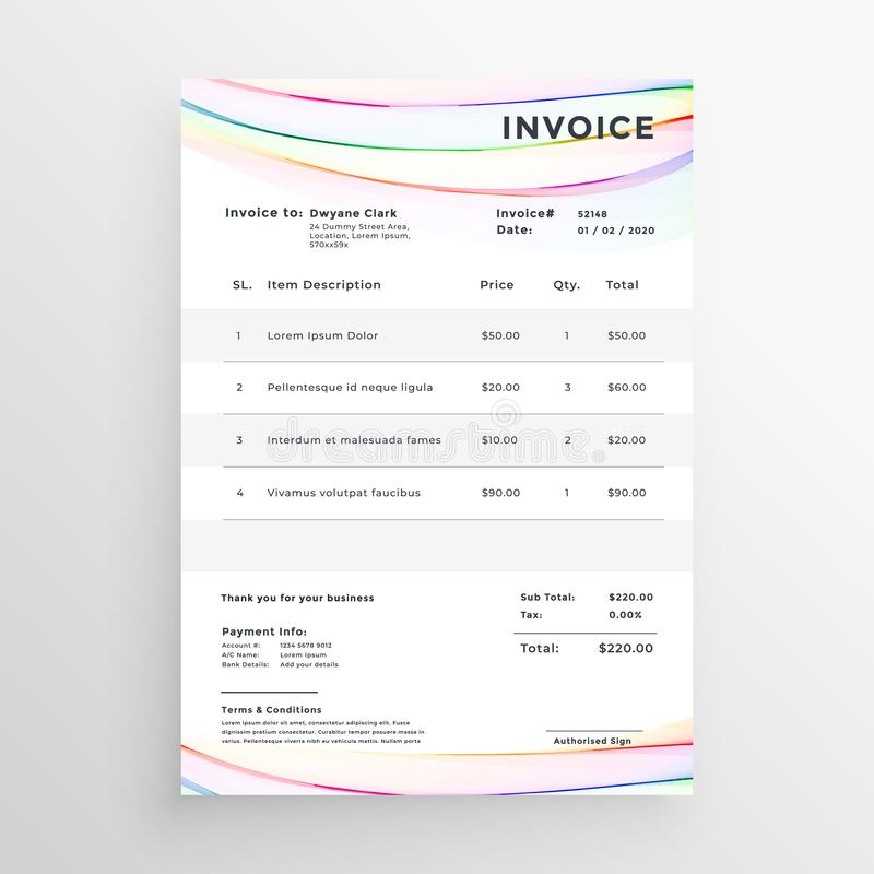 Minimal invoice template with colorful wave lines stock illustration