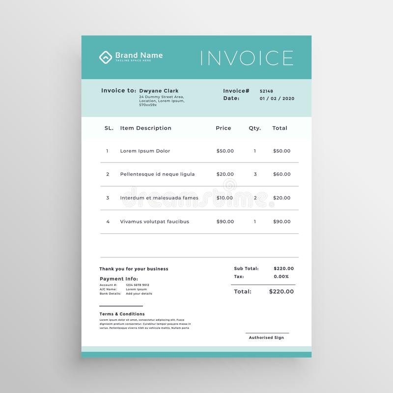 Minimal Invoice Template Vector Design Stock Vector Illustration - Budget invoice template