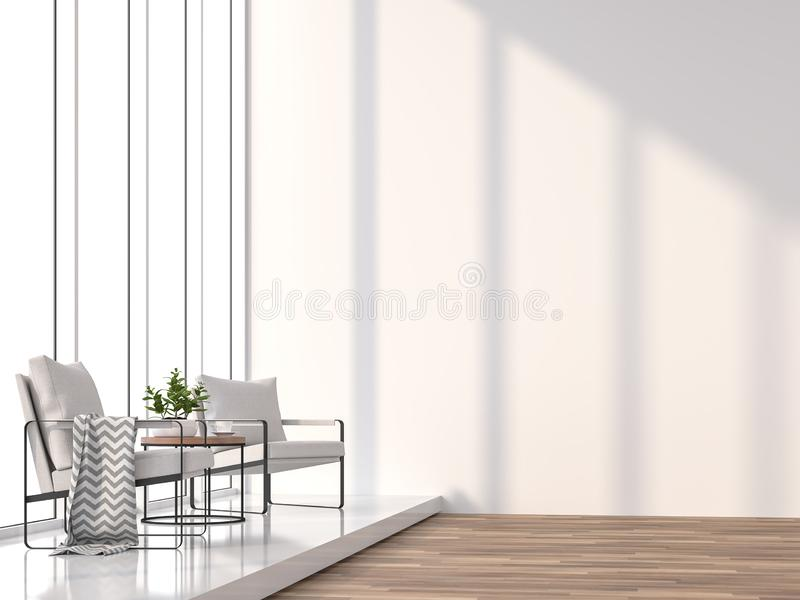 Minimal living room with sunlight shining into the room 3d rendering image. Minimal living room 3d rendering image.The Rooms have white wooden floors and white vector illustration