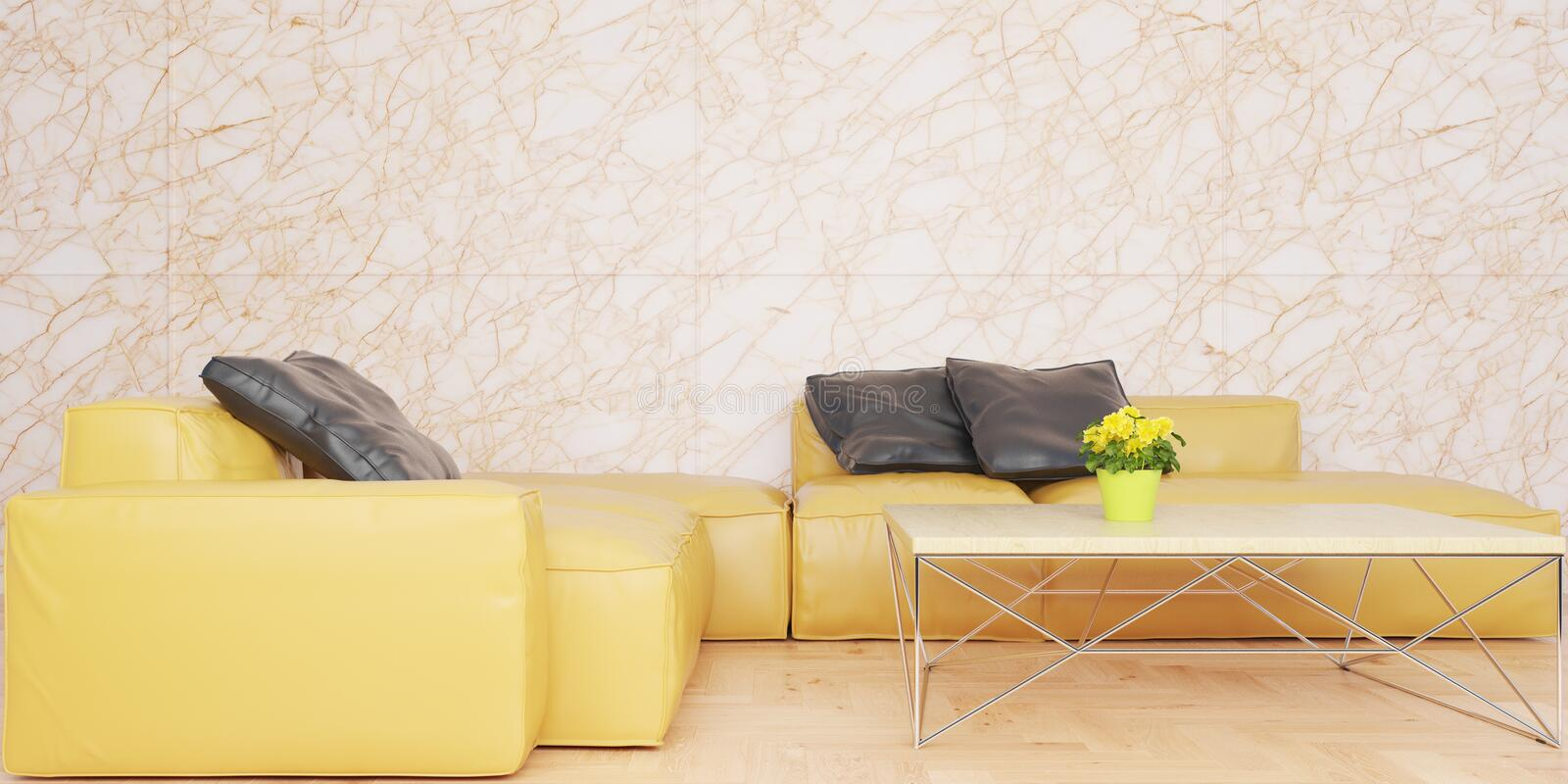 Minimal living room with yellow leather sofa set and marble wall 3D illustration vector illustration