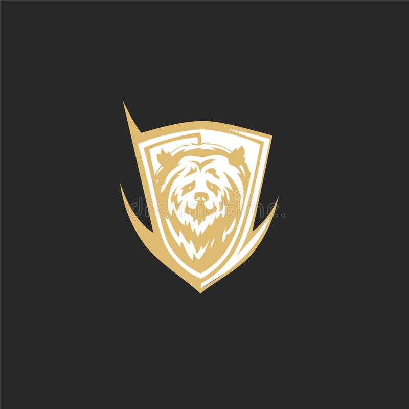Minimal logo of golden bear vector illustration stock illustration
