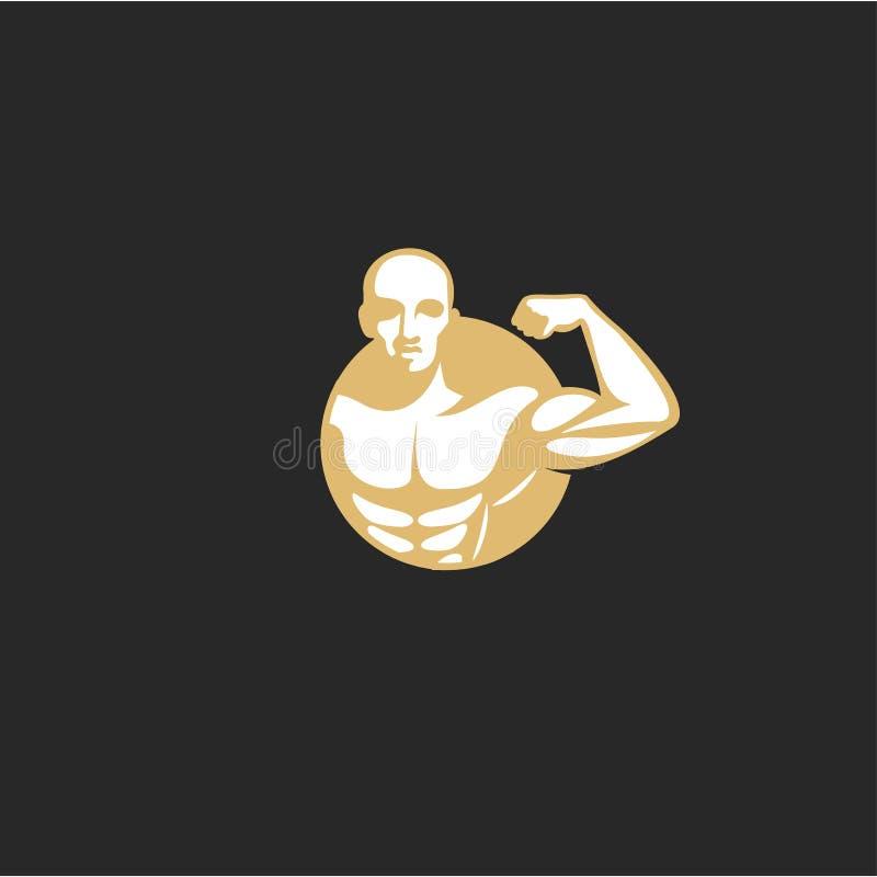 Minimal logo of golden muscle man vector illustration. Golden muscle man logo on black background vector illustration design royalty free illustration