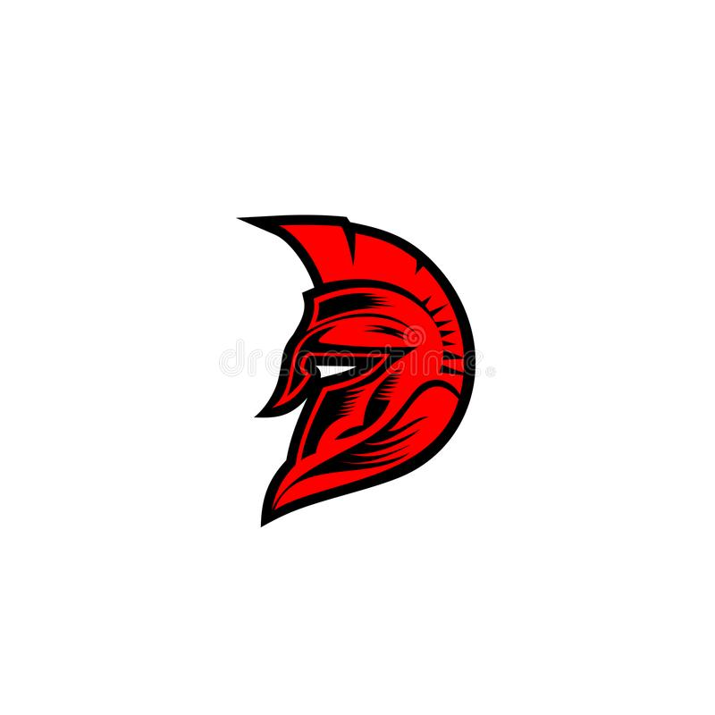 Minimal logo of red spartan helmat vector illustration. royalty free illustration