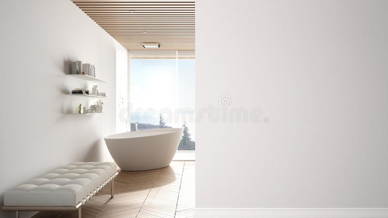 Minimal luxuty bathroom with big panoramic window on a foreground wall, interior design architecture idea, concept with copy space. Blank background royalty free illustration