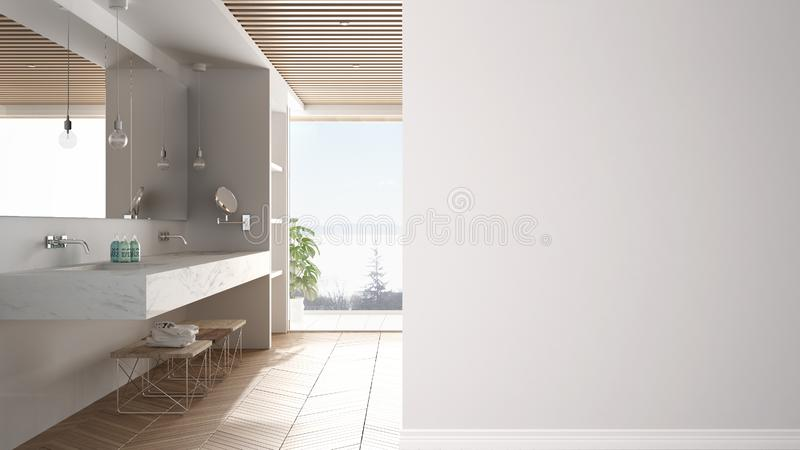 Minimal luxuty bathroom with big panoramic window on a foreground wall, interior design architecture idea, concept with copy space. Blank background stock illustration