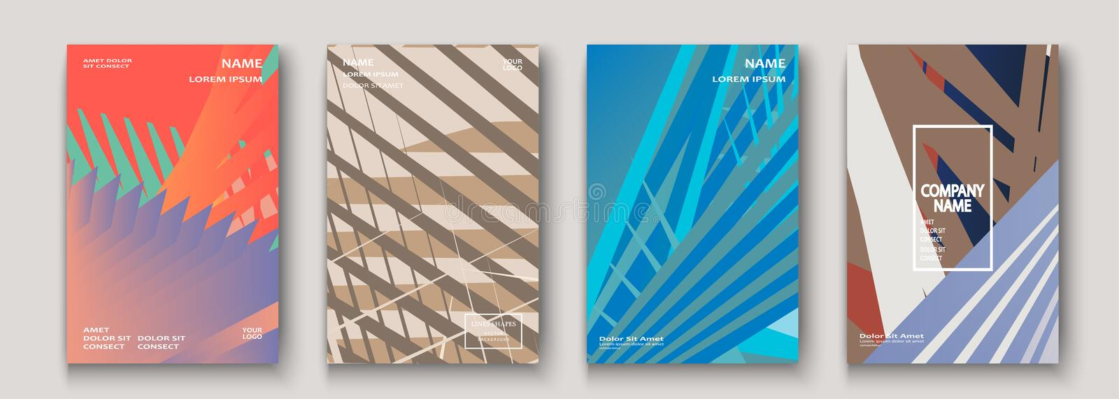 Minimal modern cover collection design. Colorful gradients flat colors in retro 90s style. Future geometric patterns lines. Trendy royalty free illustration