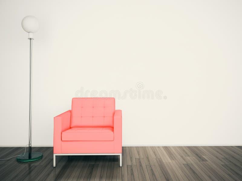 Minimal modern interior armchair FACE A BLANK WALL stock illustration