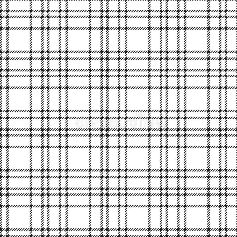 Minimal monochrome black white seamless tartan check plaid pixel pattern for fabric designs. Gingham vichy pattern background stock illustration