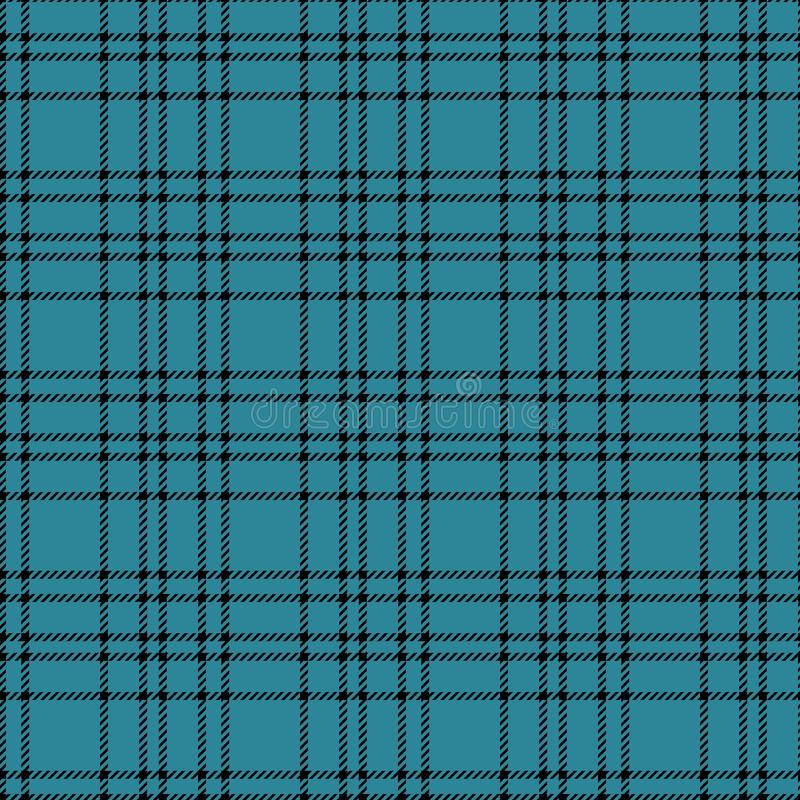 Minimal monochrome blue black seamless tartan check plaid pixel pattern for fabric designs. Gingham vichy pattern background. stock illustration