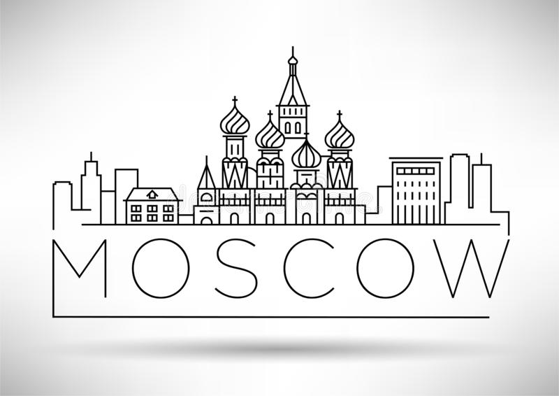 Minimal Moscow City Linear Skyline with Typographic Design vector illustration