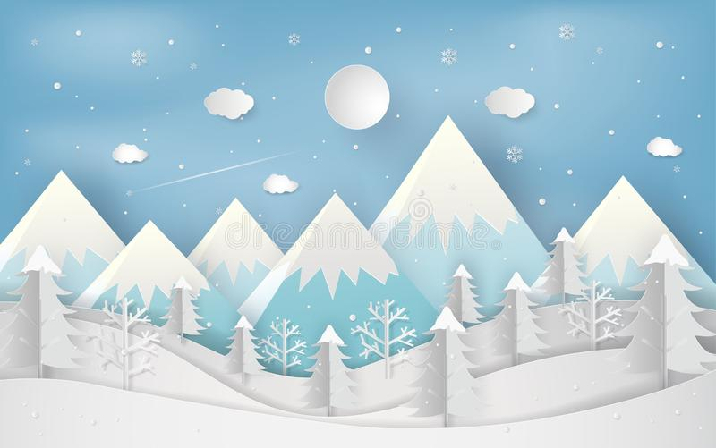 Minimal new year concept of winter season and beautiful christmas day flat lay landscape background. Christmas forest woods with. Mountains. paper art and vector illustration