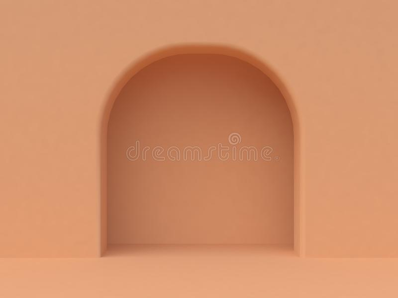 Minimal orange wall arched door 3d render vector illustration
