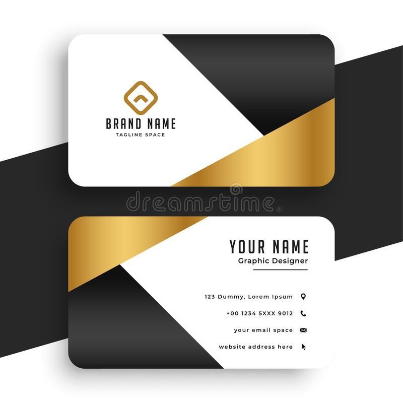 Free Minimal Premium Golden Business Card Template Design Royalty Free Stock Images - 186329109
