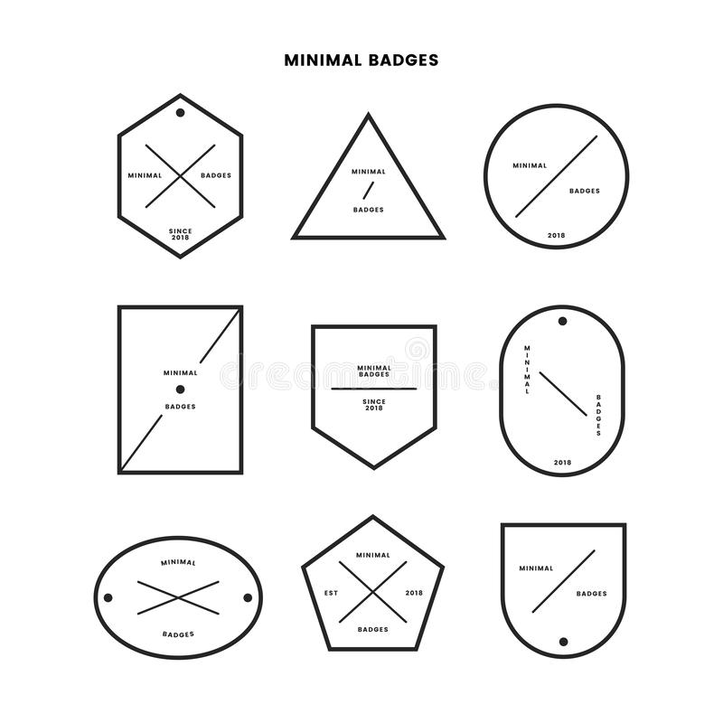 Collection of minimal style badges vector illustration