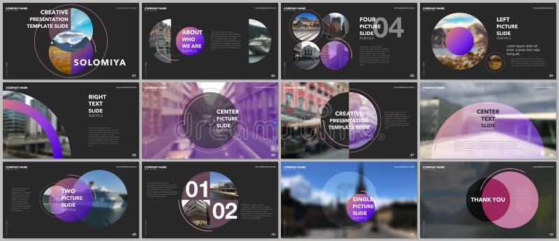 Minimal presentations design, portfolio vector templates with circle elements on black background. Multipurpose template royalty free illustration